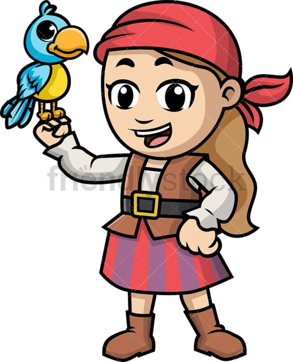 Pirate kid holding a bird. PNG - JPG and vector EPS (infinitely scalable).