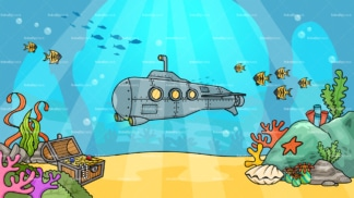 Submarine underwater background in 16:9 aspect ratio. PNG - JPG and vector EPS file formats (infinitely scalable).