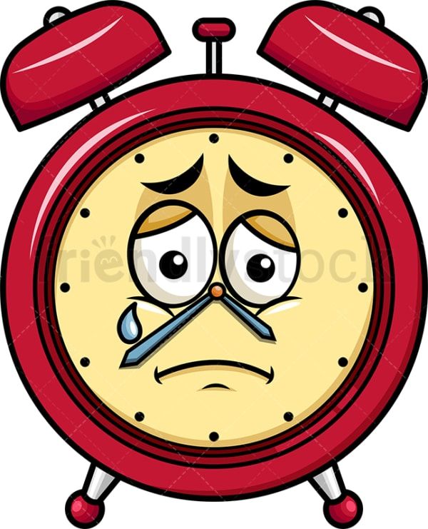 Teared up sad alarm clock emoticon. PNG - JPG and vector EPS file formats (infinitely scalable). Image isolated on transparent background.