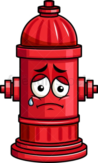 Teared up sad fire hydrant emoticon. PNG - JPG and vector EPS file formats (infinitely scalable). Image isolated on transparent background.
