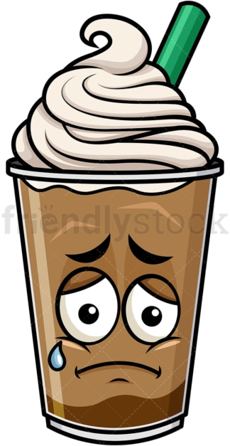 Teared up sad iced coffee emoticon. PNG - JPG and vector EPS file formats (infinitely scalable). Image isolated on transparent background.
