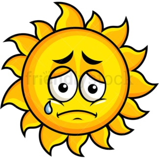 Teared up sad sun emoticon. PNG - JPG and vector EPS file formats (infinitely scalable). Image isolated on transparent background.