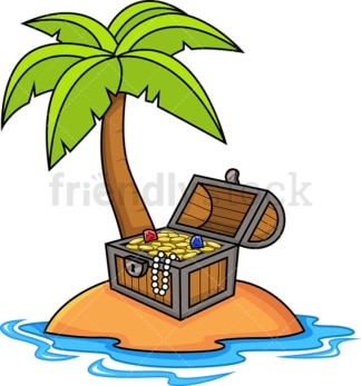 Treasure chest on deserted island. PNG - JPG and vector EPS (infinitely scalable).