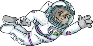 Female astronaut flying in space. PNG - JPG and vector EPS (infinitely scalable). Image isolated on transparent background.