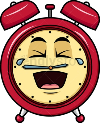 Laughing lol alarm clock emoticon. PNG - JPG and vector EPS file formats (infinitely scalable). Image isolated on transparent background.