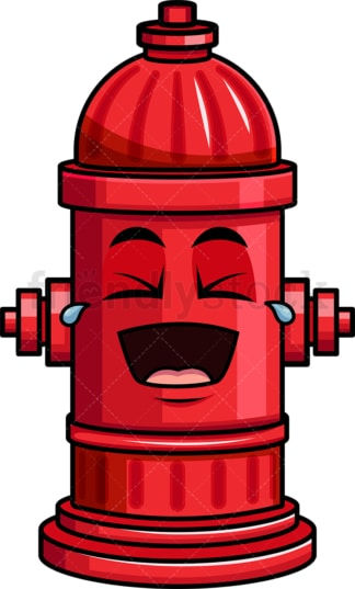 Laughing lol fire hydrant emoticon. PNG - JPG and vector EPS file formats (infinitely scalable). Image isolated on transparent background.