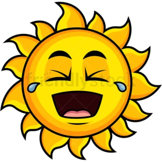 Laughing lol sun emoticon. PNG - JPG and vector EPS file formats (infinitely scalable). Image isolated on transparent background.