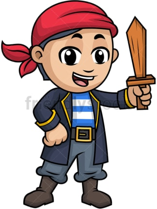 Little boy pirate with wooden sword. PNG - JPG and vector EPS (infinitely scalable). Image isolated on transparent background.