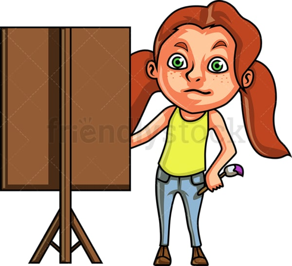 Little girl painting a portrait. PNG - JPG and vector EPS (infinitely scalable).