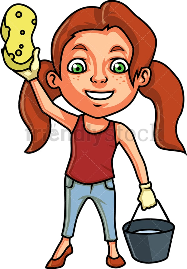 Little girl ready to clean up. PNG - JPG and vector EPS (infinitely scalable).