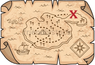 Treasure map with marked X location. PNG - JPG and vector EPS (infinitely scalable).