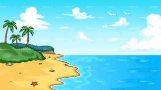 Tropical beach with serene waters background in 16:9 aspect ratio. PNG - JPG and vector EPS file formats (infinitely scalable).