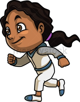 Black girl running. PNG - JPG and vector EPS (infinitely scalable). Image isolated on transparent background.
