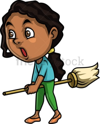 Black little girl not doing much cleaning. PNG - JPG and vector EPS (infinitely scalable).