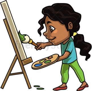 Black little girl painting. PNG - JPG and vector EPS (infinitely scalable).