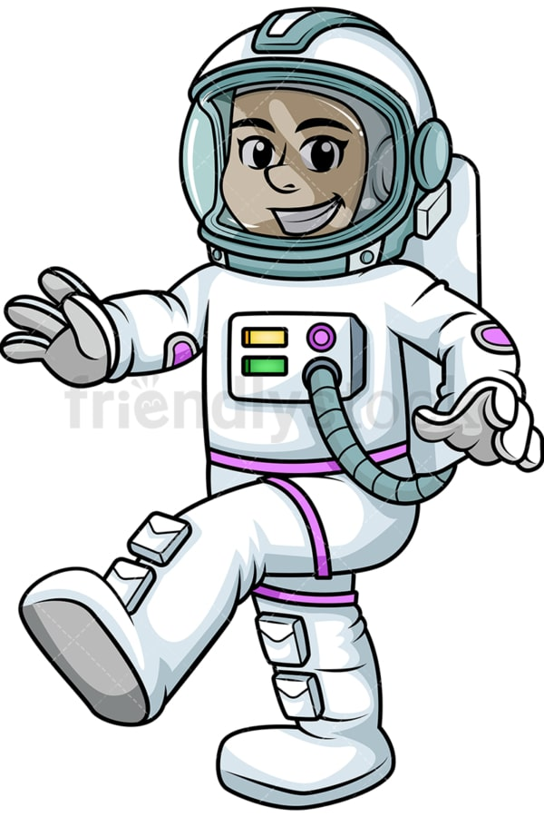 Spacewoman walking in zero gravity. PNG - JPG and vector EPS (infinitely scalable). Image isolated on transparent background.