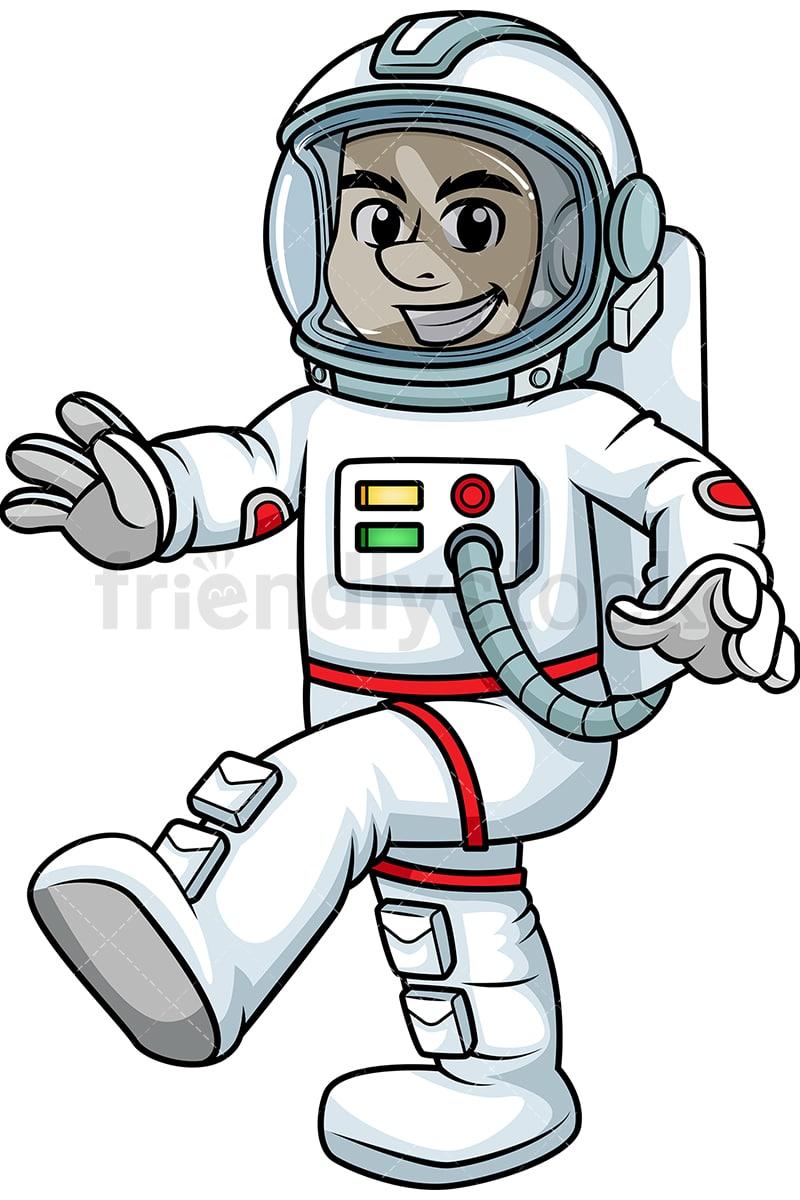 Male Astronaut Walking In Zero Gravity Cartoon Vector ...