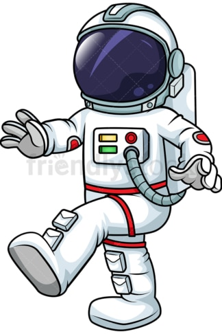 Male astronaut walking in zero gravity. PNG - JPG and vector EPS (infinitely scalable). Image isolated on transparent background.