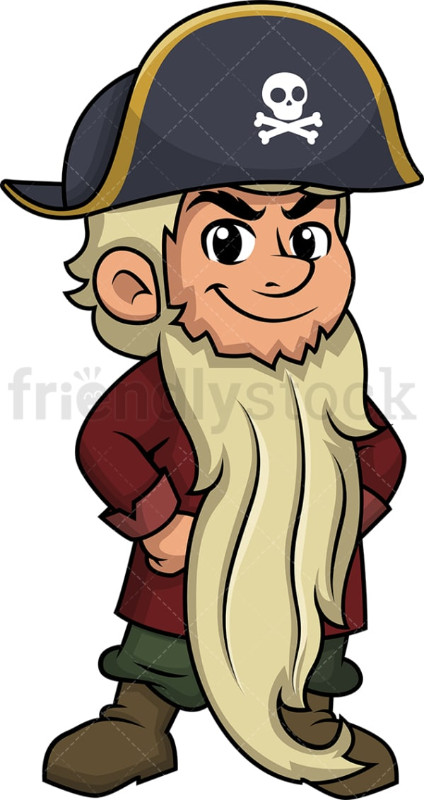 Pirate with long beard. PNG - JPG and vector EPS (infinitely scalable). Image isolated on transparent background.