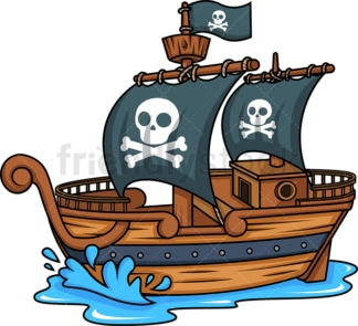 Side view of a pirate ship. PNG - JPG and vector EPS (infinitely scalable).