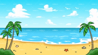 Tropical beach background in 16:9 aspect ratio. PNG - JPG and vector EPS file formats (infinitely scalable).