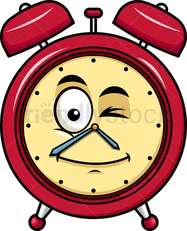 Winking alarm clock emoticon. PNG - JPG and vector EPS file formats (infinitely scalable). Image isolated on transparent background.