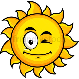 Winking sun emoticon. PNG - JPG and vector EPS file formats (infinitely scalable). Image isolated on transparent background.
