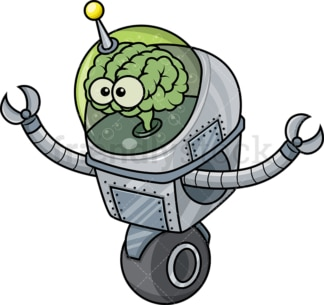 Bionic robot cartoon. Transparent PNG - JPG - vector EPS (infinitely scalable).