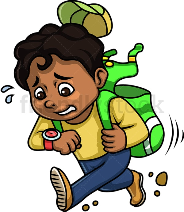 Black boy running late for school. PNG - JPG and vector EPS (infinitely scalable). Image isolated on transparent background.