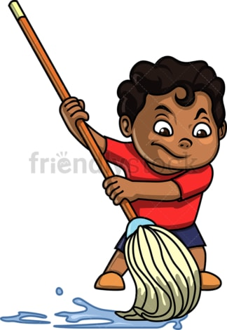 Black kid mopping. PNG - JPG and vector EPS (infinitely scalable).