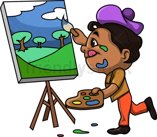 Black kid painting a landscape. PNG - JPG and vector EPS (infinitely scalable).