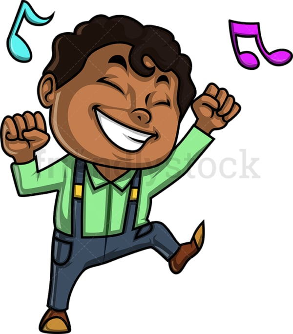 Black little boy dancing. PNG - JPG and vector EPS (infinitely scalable).