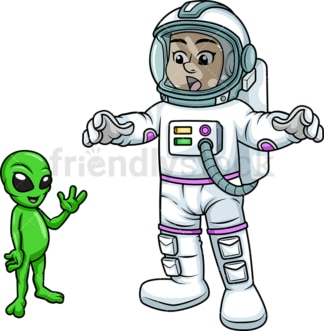 Female astronaut encountering an alien. PNG - JPG and vector EPS (infinitely scalable). Image isolated on transparent background.