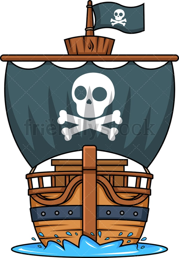 Front view of a pirate ship. PNG - JPG and vector EPS (infinitely scalable).