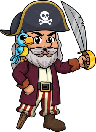 Old pirate with gray hair. PNG - JPG and vector EPS (infinitely scalable).