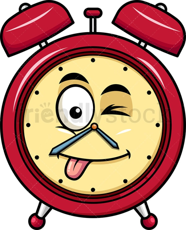 Winking tongue out alarm clock emoticon. PNG - JPG and vector EPS file formats (infinitely scalable). Image isolated on transparent background.