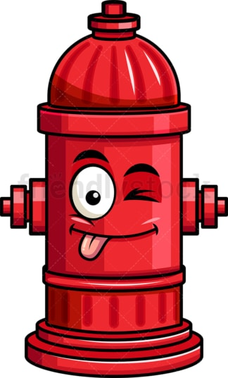 Winking tongue out fire hydrant emoticon. PNG - JPG and vector EPS file formats (infinitely scalable). Image isolated on transparent background.