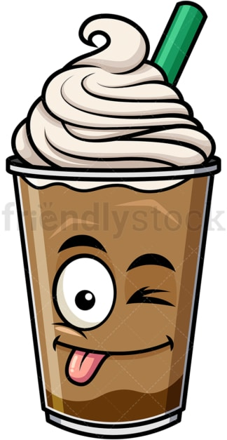 Winking tongue out iced coffee emoticon. PNG - JPG and vector EPS file formats (infinitely scalable). Image isolated on transparent background.