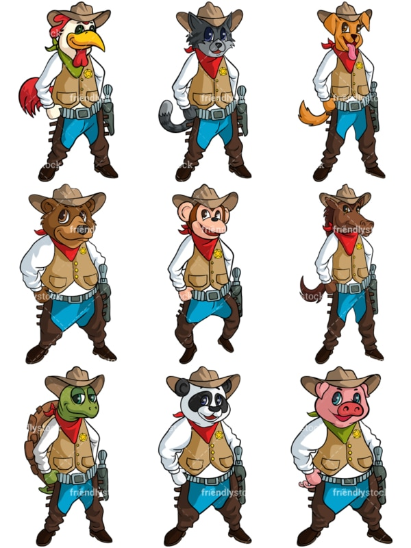 Animal cowboys. PNG - JPG and vector EPS file formats (infinitely scalable).