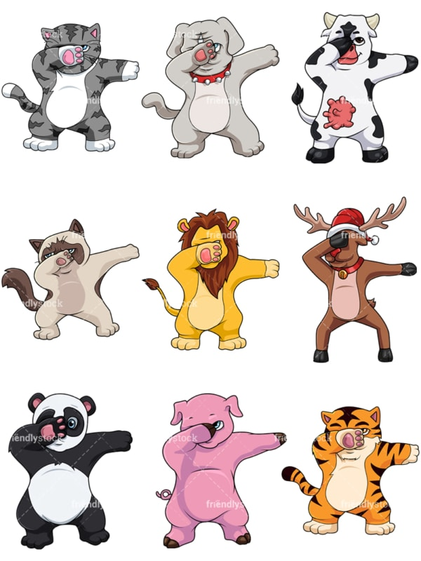 Animals dabbing collection. PNG - JPG and vector EPS file formats (infinitely scalable).