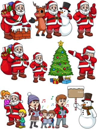 Christmas Images Cartoon.Santa Claus In Front Of Decorated Christmas Tree