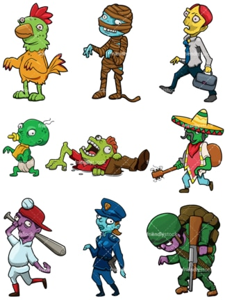 Funny zombies. PNG - JPG and vector EPS file formats (infinitely scalable).