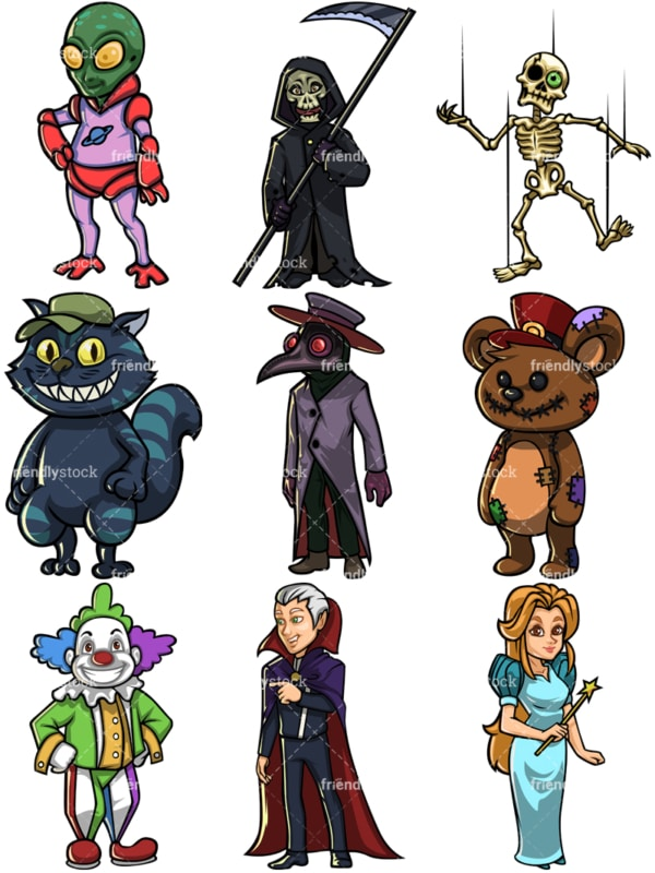 Halloween characters. PNG - JPG and vector EPS file formats (infinitely scalable).