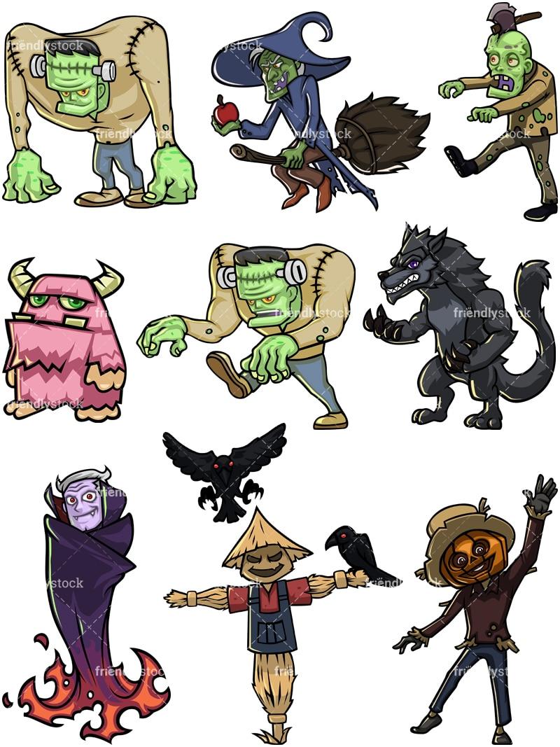Halloween Monsters Cartoon Vector Clipart - FriendlyStock