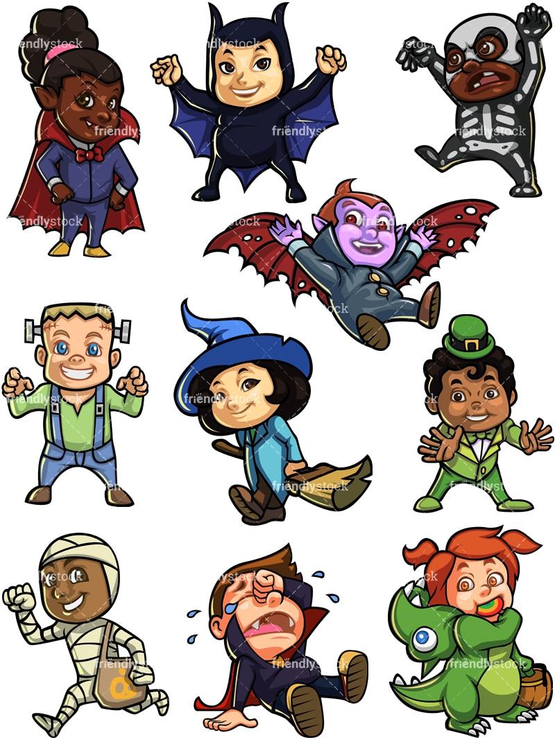 Kids In Halloween Costumes Cartoon Vector Clipart ...