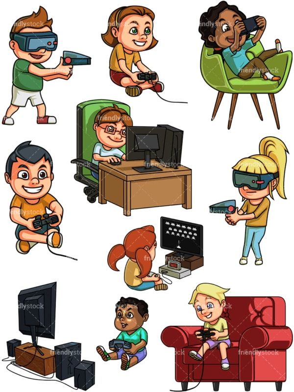 Children playing video games. PNG - JPG and vector EPS file formats (infinitely scalable).