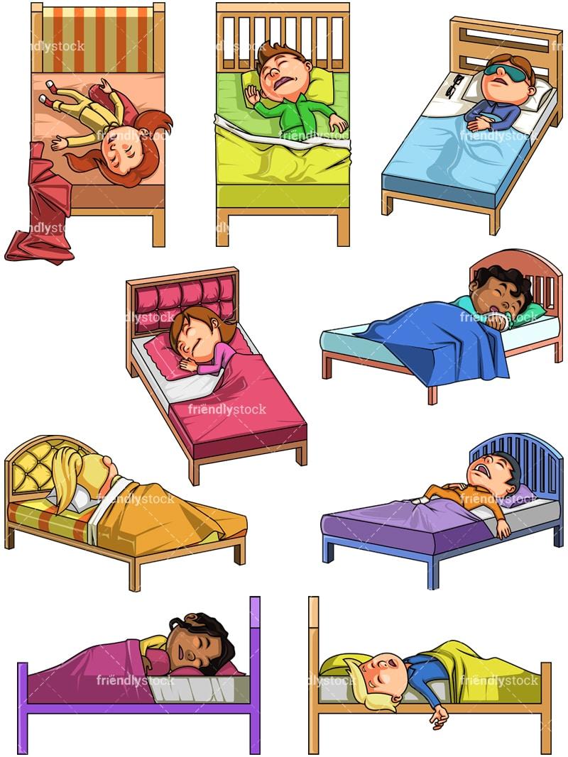 Kids Sleeping Cartoon Clipart Vector - FriendlyStock