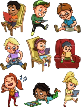 Kids using tablets. PNG - JPG and vector EPS file formats (infinitely scalable). Images isolated on transparent background.