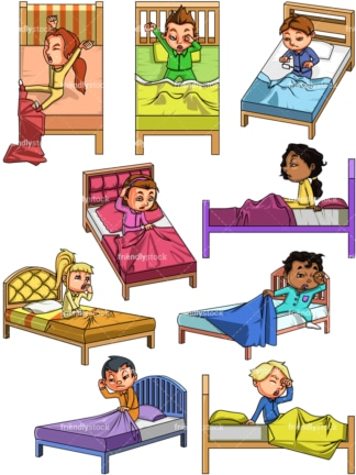 Kids waking up. PNG - JPG and vector EPS file formats (infinitely scalable). Images isolated on transparent background.