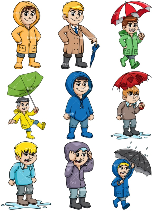 Men dressed for winter rain. PNG - JPG and vector EPS file formats (infinitely scalable).